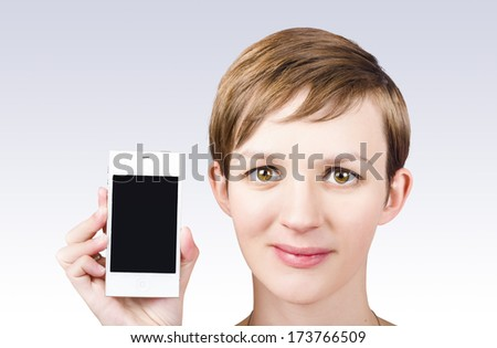 Portrait of smiling business woman showing blank screen on generic mobile smart phone. App marketing - stock photo