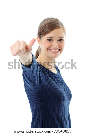 Portrait of smiling business woman showing thumbs up gesture on white background