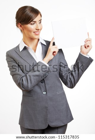 Portrait of smiling business woman with blank board , isolated on white background - stock photo