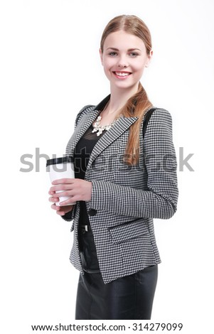 Portrait of smiling business woman with coffee, isolated on white background