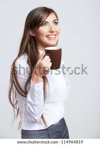 Portrait of smiling  business woman with cup, isolated - stock photo