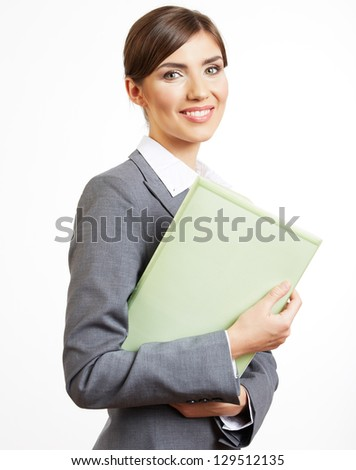 Portrait of smiling  business woman with paper folder, isolated on white background - stock photo
