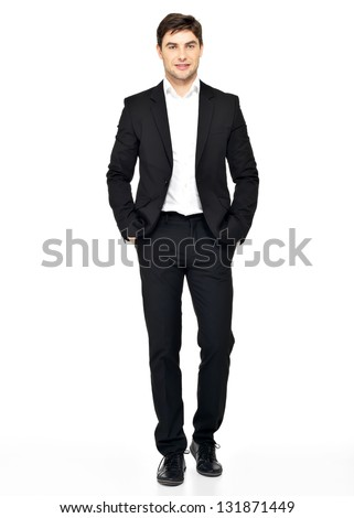 Portrait of smiling businessman in black suit casual  poses at studio - stock photo