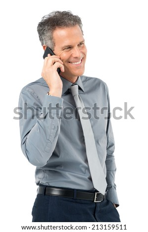 Portrait Of Smiling Businessman Talking With Cellphone Isolated On White Background - stock photo