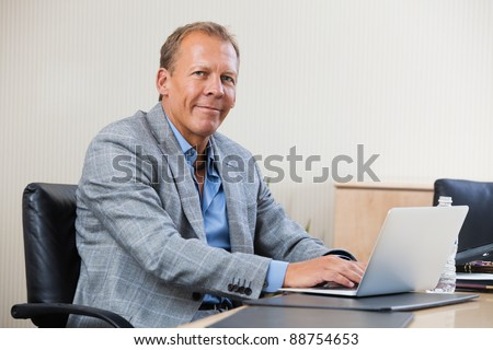 Portrait of smiling businessman working on laptop - stock photo