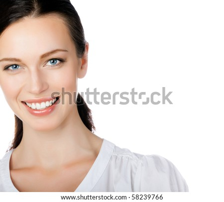 Portrait of smiling businesswoman, isolated on white - stock photo