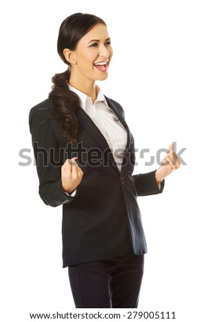 Portrait of smiling cheerful businesswoman - stock photo