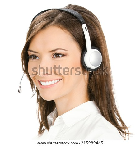 Portrait of smiling cheerful customer support phone operator, isolated on white background - stock photo