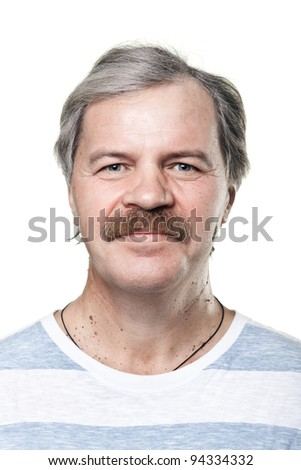 portrait of smiling cheerful mature man isolated on white background - stock photo