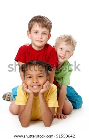 Portrait of smiling children looking at the camera