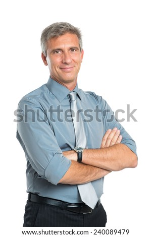 Portrait Of Smiling Confident Mature Businessman With Arms Crossed Looking At Camera Isolated On White Background - stock photo