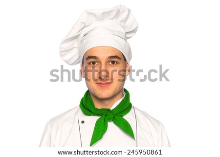 Portrait of smiling cook chef isolated on white background - stock photo