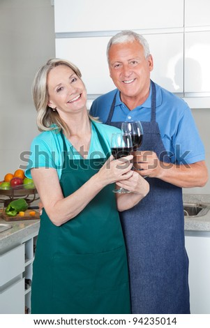 Portrait of smiling couple toasting wine glasses in the kitchen - stock photo