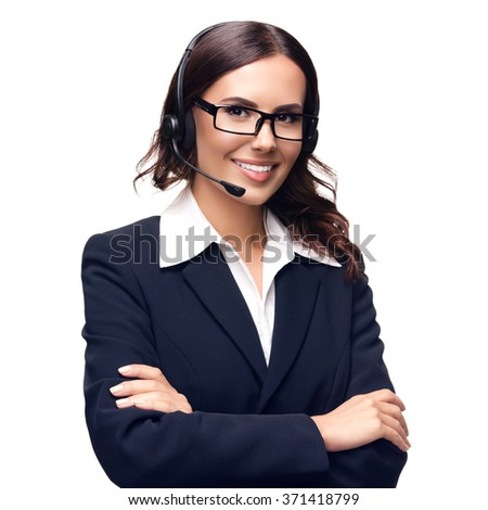 Portrait of smiling customer support phone operator in glasses, isolated against white background - stock photo