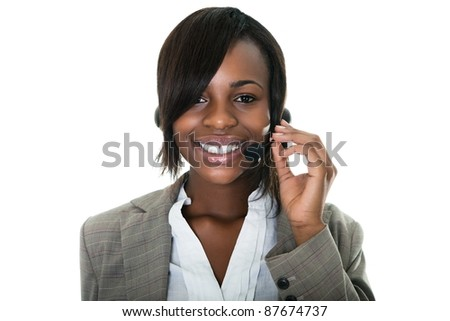 Portrait of smiling  female customer services representative on white background.