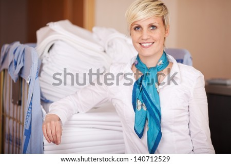 Portrait of smiling female housekeeper in stock room - stock photo