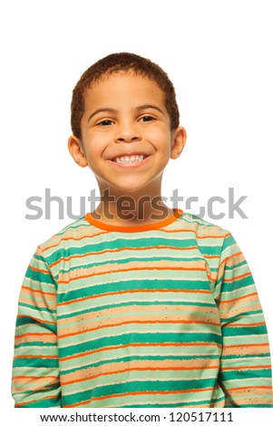 Portrait of smiling five years old black boy