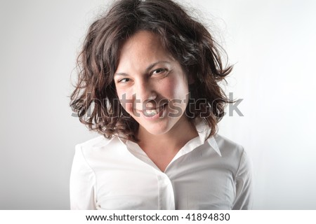 portrait of smiling girl - stock photo