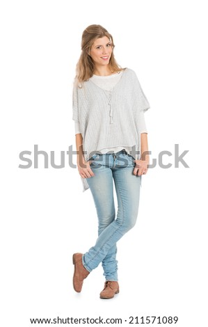Portrait Of Smiling Girl In Casual Standing Isolated On White Background - stock photo