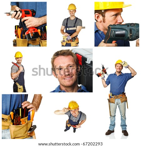 portrait of smiling handyman and works tools detail on white background - stock photo