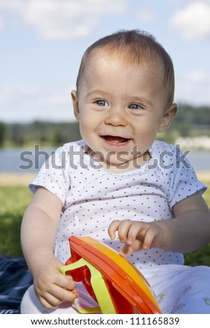 Portrait of smiling happy baby boy - stock photo