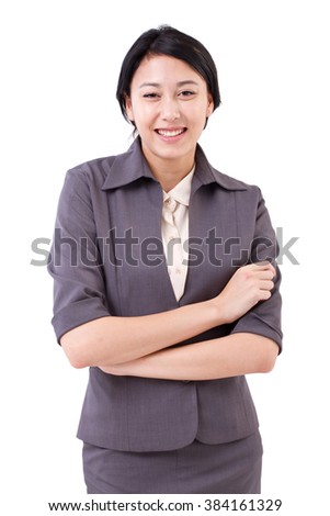 portrait of smiling, happy businesswoman - stock photo