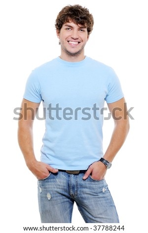 Portrait of smiling happy glad guy in casuals - isolated on white - stock photo