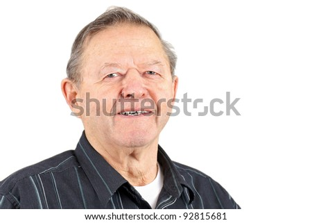 Portrait of smiling happy senior man isolated over white background