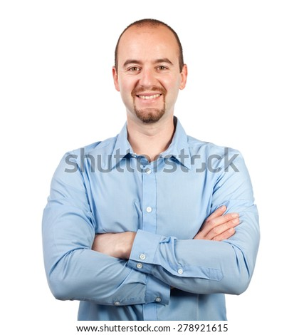 portrait of smiling isolated businessman - stock photo