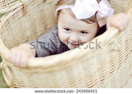 Portrait of smiling little girl - close up - stock photo