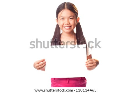 Portrait of smiling little girl holding poster and looking at camera on white background - stock photo