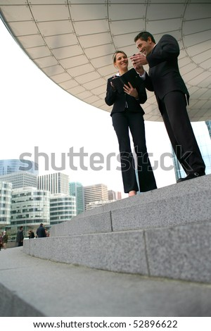 Portrait of smiling man and woman - stock photo