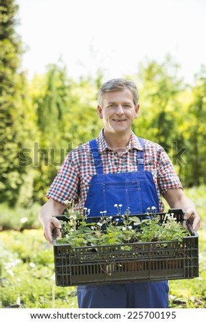 Portrait of smiling man holding crate of potted plants at garden - stock photo