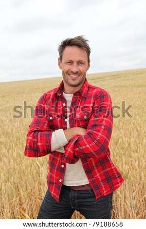 Portrait of smiling man in countryside