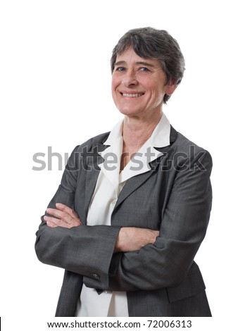 portrait of smiling mature businesswoman isolated on white background - stock photo