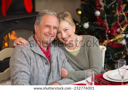 Portrait of smiling mature couple at table at home in the living room - stock photo