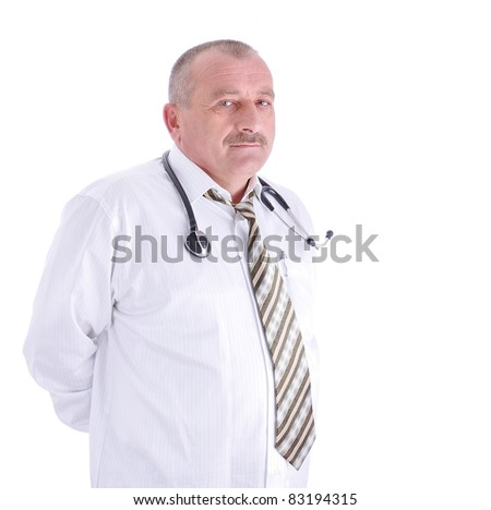Portrait of smiling mature doctor isolated on white background