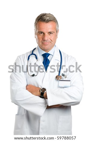 Portrait of smiling mature doctor isolated on white background *Please note: the Doctor Label is made by myself with a personal design* - stock photo