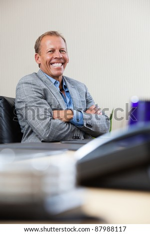 Portrait of smiling mature executive sitting with hands folded - stock photo