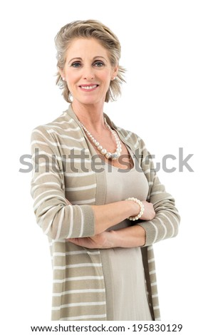 Portrait Of Smiling Mature Woman Smiling Looking At Camera Isolated On White Background - stock photo