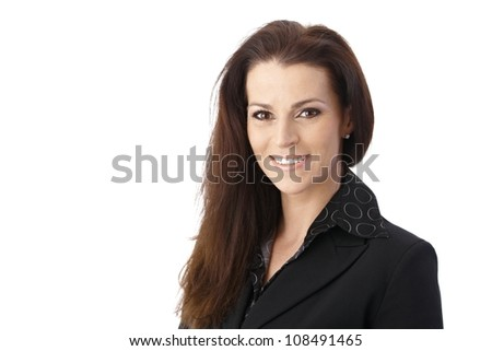 Portrait of smiling middle-aged businesswoman looking at camera. - stock photo