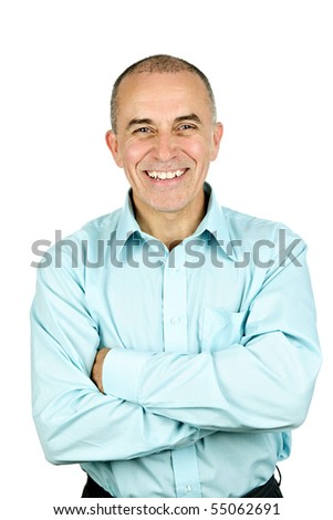 Portrait of smiling middle aged man isolated on white background - stock photo