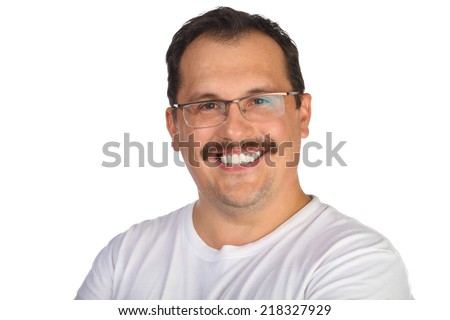 Portrait of smiling middle-aged man with mustache in white shirt - stock photo