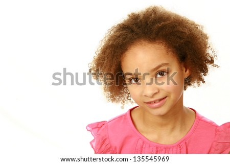 portrait of smiling mixed race girl isolated on white - stock photo