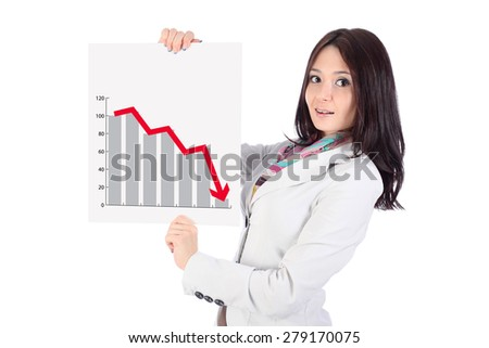 Portrait of smiling office young woman, with long dark hairs, looking ahead, with white poster in hands, poster is a graph and arrow down, on white background