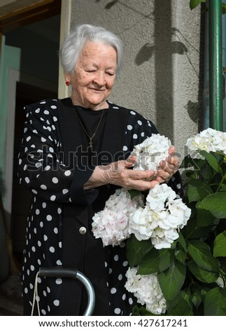 Portrait of smiling old woman outdoors - stock photo