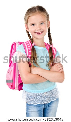 Portrait of smiling schoolgirl with school bag isolated on a white background - stock photo