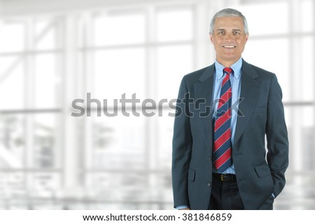 Portrait of smiling senior businessman standing against office window background while looking at camera.