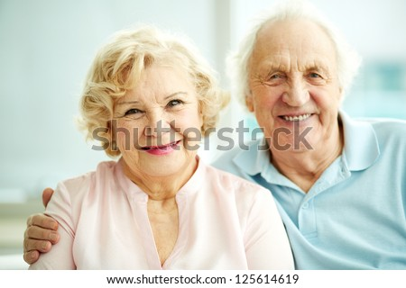 Portrait of smiling seniors enjoying spending time together - stock photo