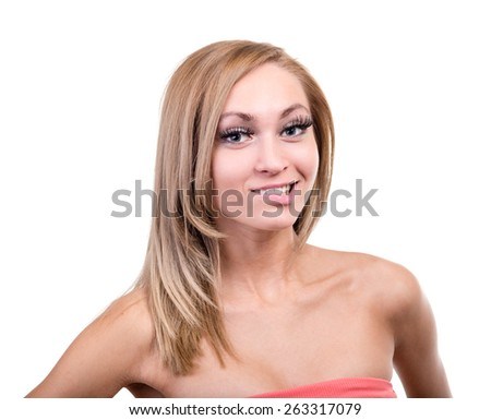 portrait of smiling sexy young blond woman isolated on white - stock photo